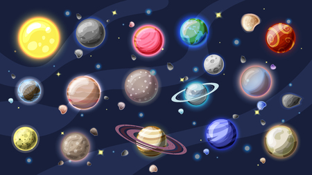Solar system vector cartoon collection. Planets, moons of Earth, Jupiter and other planet of Solar system, with asteroids, Sun and planet rings. Set of cartooning planets of Solar system, space vector illustration Illustration