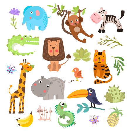 Cute set of safari animals and flowers. Savanna and safari funny cartoon animals. Jungle animals vector set. Crocodile, giraffe, lion and monkey, and other jungles and savannah animals in one cute collection, isolated on white background Stockfoto - 105708310