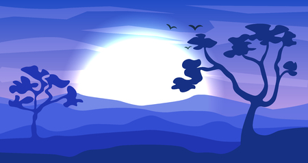 Safari cartoon background, desert savanna panorama and landscape with trees, hills and moon. Safary layered panoramic background, savannah landscape, African sunset design in cold blue colors at night Illusztráció