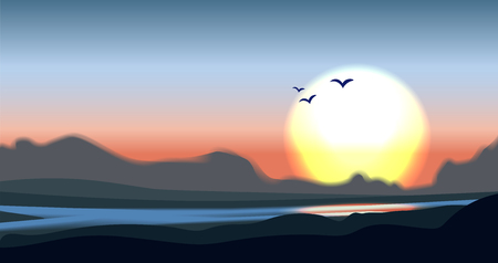 Mountain valley minimalistic vector illustration with river, palm and hills silhouette. Calm vector mountain mountains valley illustration, bright sun. Mountain valley concept minimalistic landscape panorama. Tropical sunset and sundown vector mountain valley landscape.