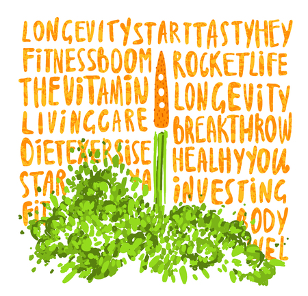 Illustration of the concept of a healthy lifestyle. Carrots with a halms, taking off like a rocket with lettering about Health, sport, lifestyle and vitamins. Starting new healthy life concept isolated on white background Vektorové ilustrace