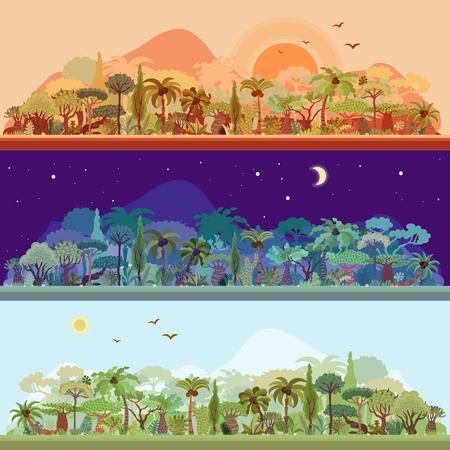 Wektor zbiory krajobrazów tropikalnych lasów deszczowych z palmami i innymi drzewami tropikalnymi w różnych kolorach - krajobraz lasów deszczowych nignt, krajobraz lasów o zachodzie słońca, krajobraz tropikalny w świetle dziennym. Zestaw ilustracji panoramicznych lasów tropikalnych w trzech kolorach. Płaska konstrukcja wektora, w dzień, w nocy, w porze zachodu słońca.