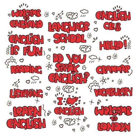 Apprendre des phrases et des mots éducatifs en anglais. Lettrage d'école de langue - phrases et éléments de décoration sur l'étude de l'anglais. J'aime l'anglais, l'école de langue, la grammaire et d'autres mots liés à l'étude de la langue de l'Angleterre isolé sur fond blanc