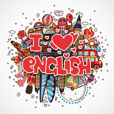 Phrase I LOVE ENGLISH educational and travelling concept. I love English vector cartoon illustration, lettering about loving learning language on cartooning objects -big ben, guard, bus, map and others. Set of Fun cartoon objects with phrase I LOVE ENGLISH - Concept of English language courses with fun lettering Zdjęcie Seryjne