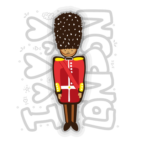 UK Buckingham Palace Queen Guard In Uniform cartoon Illustration. London guard fun illustration with lettering about London. British Army soldier cartooning style.