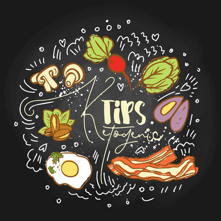 Ketogenic Tips Food sketch illustration - multy-colored vector sketch healthy concept. Healthy keto tips concept with texture and decorative elements in a circle form - all nutrients, like fats, carbs