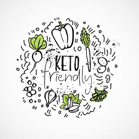 Keto Friendly Food sketch illustration - two-colored vector sketch healthy concept. Healthy keto food with texture and decorative elements in a circle form - all nutrients, like fats, carbs and protei