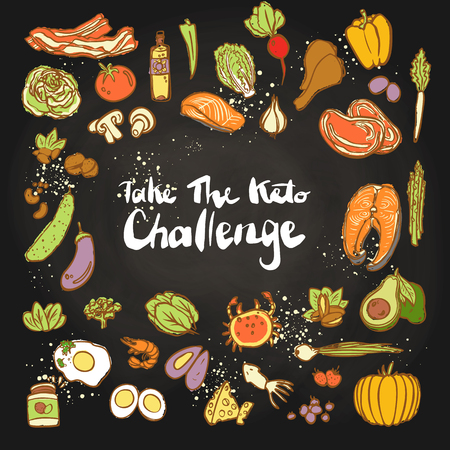 Take the Keto Challenge - Ketogenic food vector colored sketch illustration. Healthy keto food - fats, proteins and carbs on one vector illustration. Low carbs ketogenic diet food isolated on white background. Cartoon sketch keto food, icon set Stock Photo