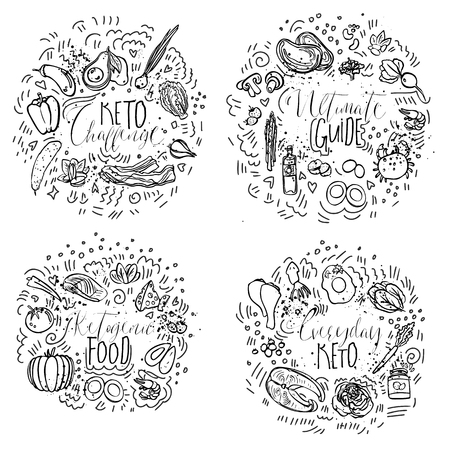 Keto Challenge, Ultimate Guide, Ketogenic Food, Everyday Keto - black and white vector sketch illustration concept. Healthy keto food with texture and decorative elements in four circles - all nutrien 写真素材