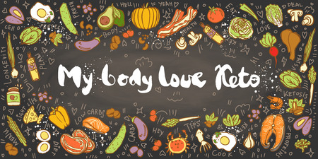 Ketogenic Diet vector sketch banner illustration. My Body Love Keto Healthy concept with food illustration on texture and decorative elements - fats, proteins and carbs on one Keto vector illustration. Low carbs ketogenic diet food isolated on white background. Cartoon sketch keto food, banner Stock Photo
