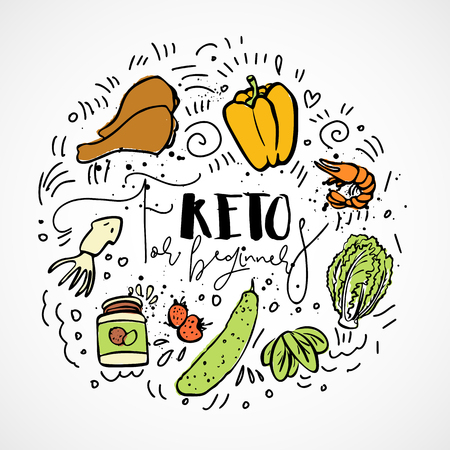 Keto for beginners vector sketch illustration - multi-colored sketch healthy ketogenic concept. Healthy keto diet for beginners with texture and decorative elements in a circle form - all nutrients, l