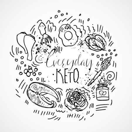 Everyday Keto Menu sketch hand draw illustration - black and white vector sketch healthy concept. Healthy everyday keto food concept with texture and decorative elements in a circle form - all nutrients, like fats, carbs and proteins and food icons, like vegetables, meat, fish, sea food in amazing ketogenic concept on white background