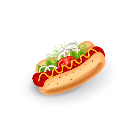 Vector Illustration Hot Dog. Isolated Icon on White Field. Classic Symbol of Fast Food. Concept of Classic Food for Street Lunch. Colorful Appetizing Hot Dog with Sausage, Mustard and Vegetables Top View. Standard-Bild - 114356151