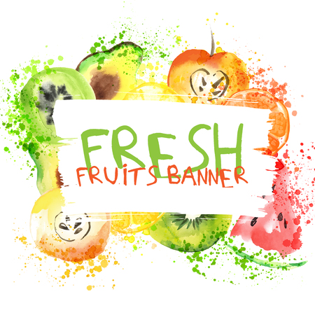 Fresh fruit watercolor banner. Watercolored apple, citruses, avocado and qiwi in one banner with splashes. Healthy lifestyle bannner with fruist and juice splash