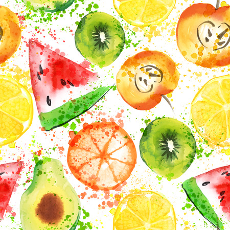 Set of Fresh fruit watercolor objects. Watercolored apple, citruses, avocado and qiwi in one art collection with splashes. Healthy lifestyle set with fruits and juice splash isolated on white background