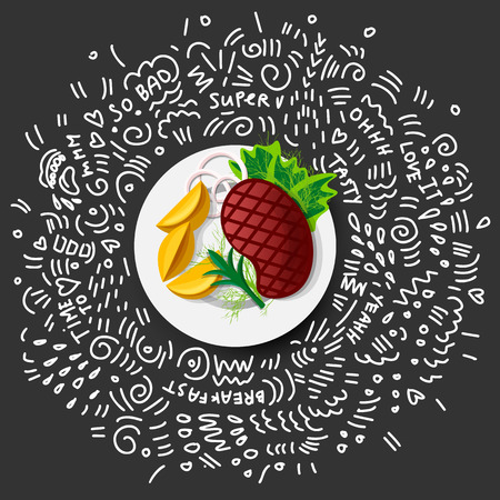 Steak Roast Beef Icon on black background. Vector Roast Beef in Cartoon Style. Juicy Steak With Vegetables on Plate. Concept of Traditional Dish of Meat of Grilled roast beef with doodle decor Archivio Fotografico - 114355931