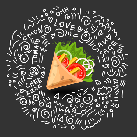 Tortilla wrap vector cartoon illustration. Mexican burritos with french fries and vegetables Icon. Mexican Wraps Wrapped tortilla and burrito with vegetables isolated on black with doodle decor around
