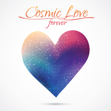 Cosmic love concept, heart with night sky and stars. Love card illustration