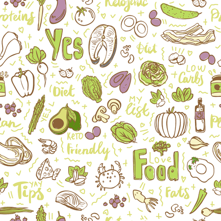 Ketogenic food vector seamless pattern, sketch. Healthy keto food - fats, proteins and carbs on endless vector pattern. Seamless Background with Low carbs keto diet food objects. Keto seamless pattern, hand draw style
