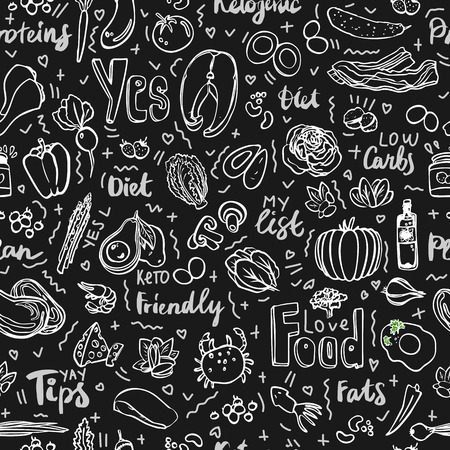 Ketogenic food vector seamless pattern, sketch. Healthy keto food - fats, proteins and carbs on endless vector pattern. Seamless Background with Low carbs keto diet food objects. Keto seamless pattern, hand draw style Illustration