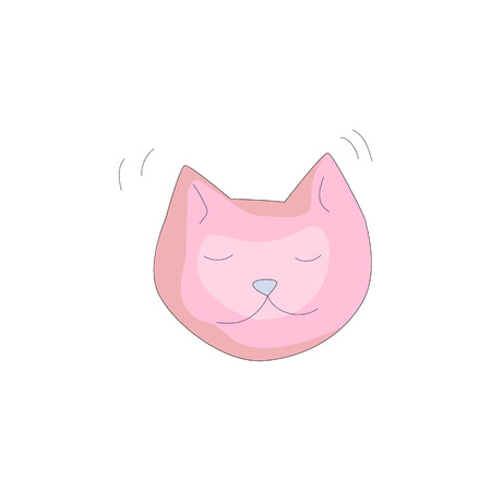 Pink cat cartoon icon. Fun cartooning icon of sleeping cat isolated on white background