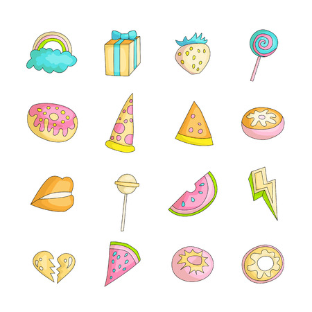 Cute funny Girl teenager colored icon set, fashion cute teen and princess icons. Magic fun cute girls objects - watermelon, broken heart, lollipops, gift box and other hand draw teens icon collection