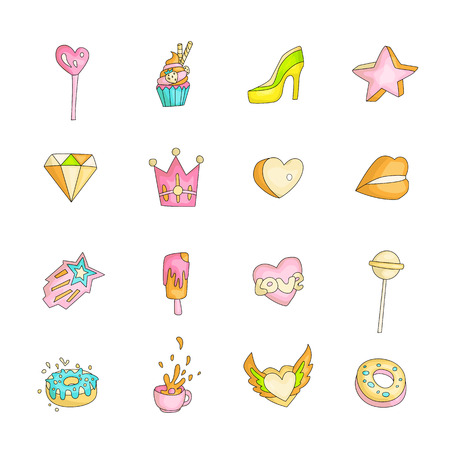 Cute funny Girl teenager colored icon set, fashion cute teen and princess icons. Magic fun cute girls objects - star, heart, high heel, crown, lips lollipops and other hand draw teens icon collection colored and isolated 스톡 콘텐츠 - 127696387