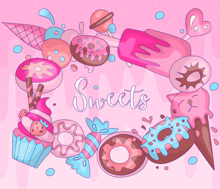 Cute funny Girl teenager colored icon round set sweets, fashion cute teen and princess icons. Magic fun cute girls cupcake, donuts and ice cream hand draw teens icon collection with pink background. 일러스트