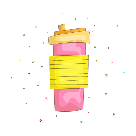 Cartoon vector fun cute illustration of pink mug of sweet cocktail. Cocktail take away with a straw in bright colors. Sweet smoothies to go in a plastic cup, plastic cup smoothie, smoothies cup isolat