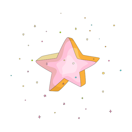 Pink cartoon funny star vector icon. Cartoon icon star with colored decoration on white background. Doodle pink star icon isolated on white background.
