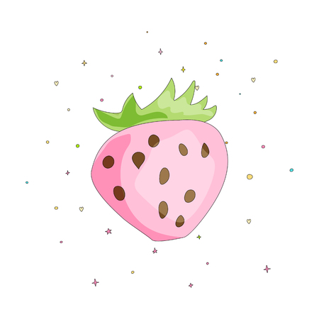 Cute fun pink strawberry with green leaves on white background. Cartoon pink strawberry icon with colored decoration. Tasty berry isolated on white background with color decoration elements. 스톡 콘텐츠 - 127666698