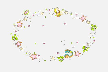 Funny doodle decorative round element with stars, hearts, headphones, branch, leaves, likes. Cartoon colored decoration for banner, lettering, illustration, cute game on gray.