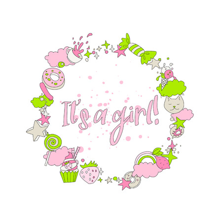 Cute pink greeting card with newborn girl. Cartoon fun greeting text - It`s a girl, newborn baby, little girl with round decoration icons. Funny dacoration with cats, donuts, sweets and other on white