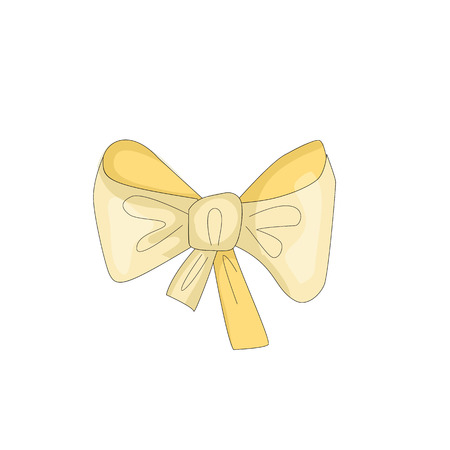 Cartoon cute yellow bow fun vector illustration. Bow-knot icon with funny cartoon decoration. Drawing doodle yellow bow on wite background.