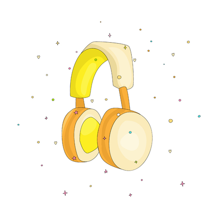 Funny cartoon yellow headphones for listening to music. Cute headset vector illustration with decoration elements. Yellow headphones for player cute icon isolated. 일러스트