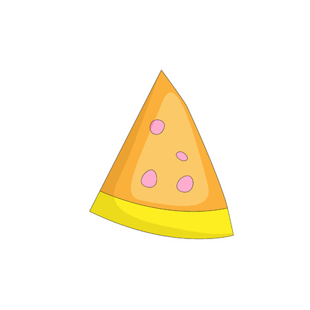 Tasty yellow a slice of pizza cartoon icon. Italian fast food pizza with cheese and pepperoni vector icon. Flat a piece of pizza with orange cheese on white background isolated. 일러스트
