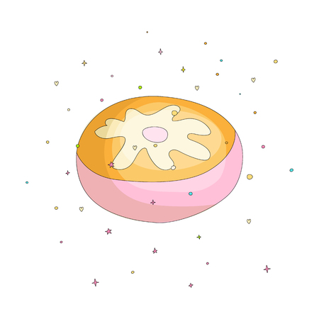Sweet pink donut cartoon icon with colorful decoration. Vector icon cartooning tasty donut with cream decoration. Sweet pink round donute with decoration on white background isolated. 일러스트