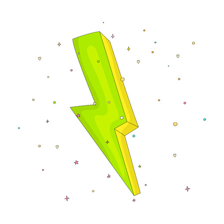 Cartoon green an yellow lightning icon with decoration elements. Simple fun cartoon lightning on white background icon. Green power lightning with decoration isolated. 일러스트