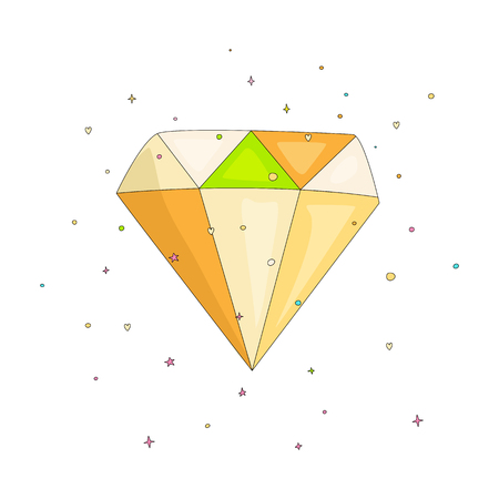 Shiny colored diamond cartoon icon. Diamond icon in cartooning funny style isolated on white. Cartoon brilliant with decoration background isolated. 일러스트