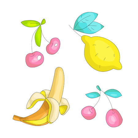 Cute funny Girl teenager colored icon set, fashion cute teen and princess icons. Magic fun cute girls objects - banana, cherry, lemon hand draw teens icon collection. Stockfoto