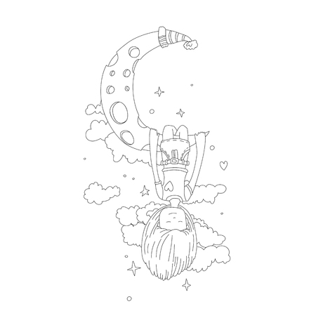 A little girl sleeping and dreaming, hanging on a crescent moon among the stars and clouds. Little girl dreaming on the moon line icon. Dreaming little girl vector cartoon hand draw illustration isola 일러스트