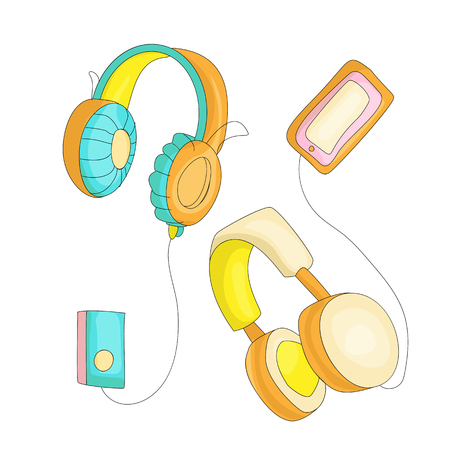Funny cartoon set of colored headphones with retro players cassette. Cute headset set vector illustration with decoration elements. Colored set headphones cute vintage icon player on white background.