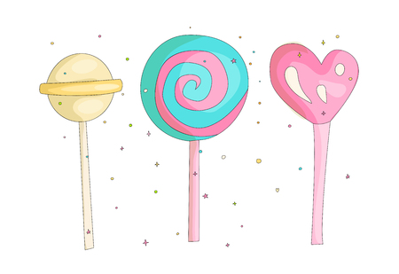 Cute funny Girl teenager colored icon set lollipops, fashion cute teen and princess icons. Magic fun cute girls lollipops hand draw teens icon collection colored and isolated