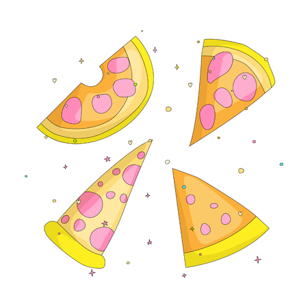 Tasty yellow a slice of pizza cartoon set icons. Set of italian fast food pizza with cheese and pepperoni vector icon. Flat set a piece of pizza with yellow cheese on white background. isolated. 스톡 콘텐츠 - 127413557