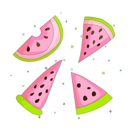 Sweet a slice of watermelon set with green skin on white background cartoon icon. Fun set cartoon a piece of watermelon icon. Fresh sweet set of watermelons cartoon icon isoleted.