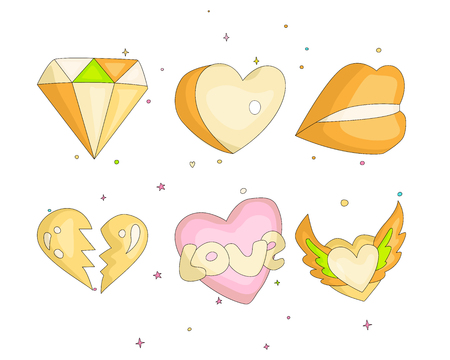Cute funny Girl teenager colored icon set, fashion cute teen and princess icons. Magic fun cute girls objects - diamond, hearts, lips, broken heart hand draw teens icon collection colored and isolated