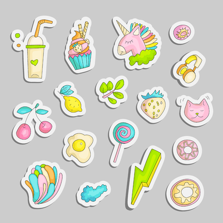 Cute funny Girl teenager colored stickers set, fashion cute teen and princess icons. Magic fun cute girls objects - unicorn, lollipop, eggs, branch, lemon, cat and other draw teens icon patch collecti 일러스트