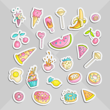 Cute funny Girl teenager colored stickers set, fashion cute teen and princess icons. Magic fun cute girls objects - cupcakes, sweets, eggs, banana, cherry, cup and other draw teens icon patch collecti 일러스트