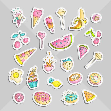 Lindo divertido conjunto de pegatinas de colores de adolescente de niña, iconos de princesa y adolescente lindo de moda. Objetos mágicos y divertidos para chicas lindas: magdalenas, dulces, huevos, plátano, cereza, taza y otros dibujos de la colección de parches de íconos para adolescentes coloreados en degradado gris. Ilustración de vector
