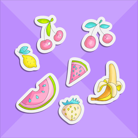 Cute funny Girl teenager colored stickers set, fashion cute teen and princess icons. Magic fun cute girls objects - banana, cherry, lemon, strawberry, watermeon draw teens icon patch collection on vio